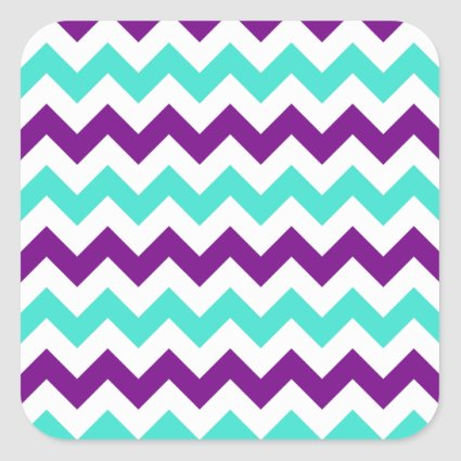 Turquoise and Purple Zigzag Square Stickers