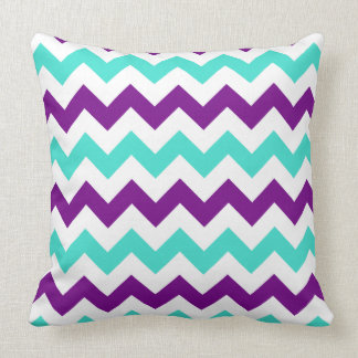 Turquoise and Purple Zigzag Throw Pillow
