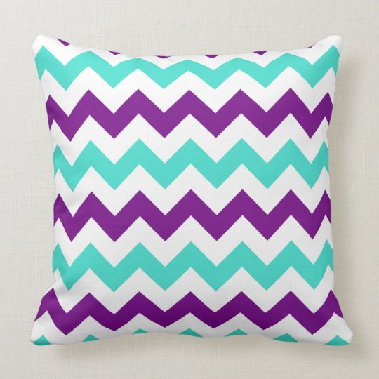 Turquoise And Purple Decorative Pillows : Turquoise and Purple Zigzag Throw Pillow Zazzle