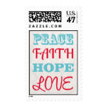 Turquoise and Red Christmas Words Postage Stamp