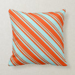 [ Thumbnail: Turquoise and Red Colored Striped Pattern Pillow ]