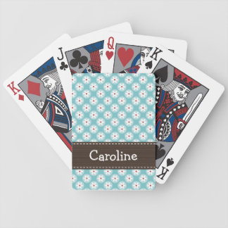 Turquoise and Red Daisy Playing Cards