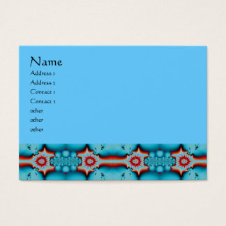 Turquoise and Red Fractal Business Card