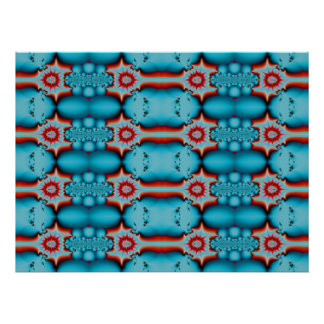 Turquoise and Red Fractal Poster