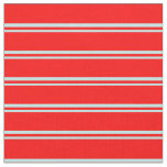 [ Thumbnail: Turquoise and Red Lines/Stripes Pattern Fabric ]
