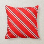 [ Thumbnail: Turquoise and Red Lines/Stripes Pattern Pillow ]