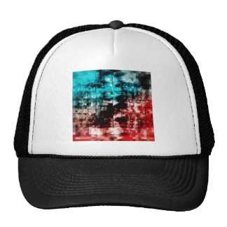 Turquoise And Red Mosaic Tiling Trucker Hat