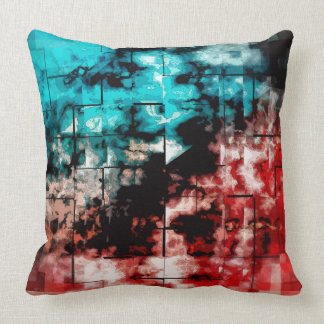 Turquoise And Red Mosaic Tiling Pillows