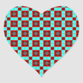 Turquoise and Red Pattern Heart Sticker