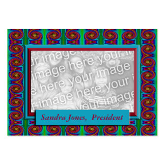 Turquoise and Red photo frame Business Card