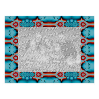 Turquoise and Red Photo Frame Poster
