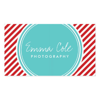 Turquoise and Red Preppy Stripes Business Cards