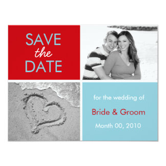 Turquoise and Red Save the Date photo cards