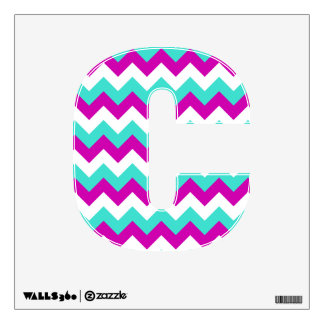Turquoise and Red Violet Chevron Wall Decal