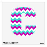 Turquoise and Red Violet Chevron Wall Decals