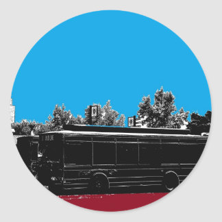 Turquoise and Red with Black Ink Classic Round Sticker