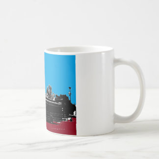 Turquoise and Red with Black Ink Coffee Mug