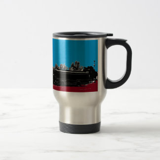 Turquoise and Red with Black Ink Travel Mug