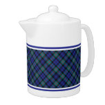 Turquoise and Royal Blue Murray Clan Modern Tartan Teapot
