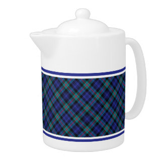 Turquoise and Royal Blue Murray Clan Modern Tartan Teapot