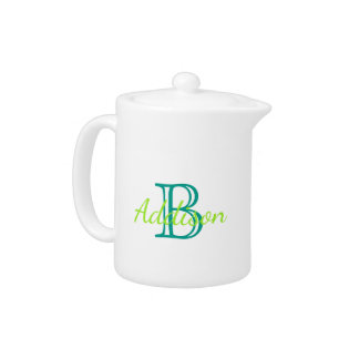 Turquoise and Sea Green Monogram Teapot