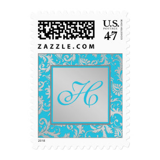 Turquoise and Silver Damask Monogram Postage