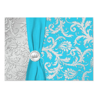 Turquoise and Silver Damask Quinceanera Invitation