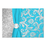 Turquoise and Silver Damask RSVP Card