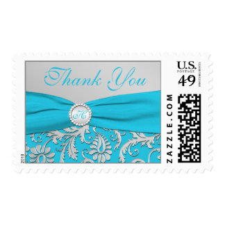Turquoise and Silver Damask Thank You Postage