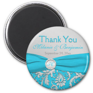 Turquoise and Silver Damask Wedding Favor Magnet