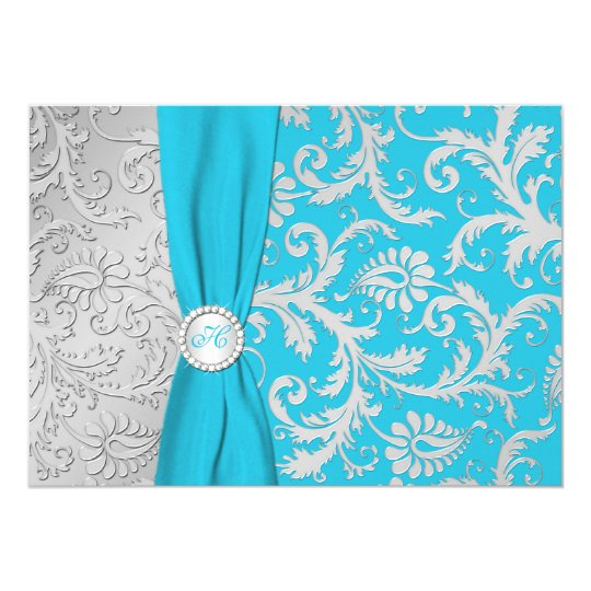 Turquoise And Silver Damask Wedding Invitation