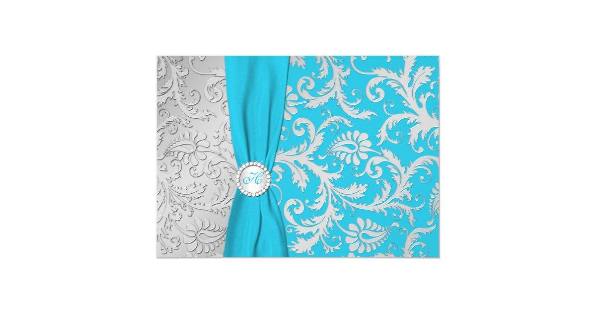Wedding Invitations Turquoise: Turquoise And Silver Damask Wedding Invitation