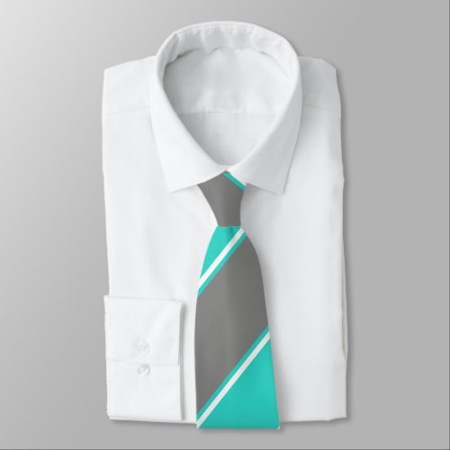Turquoise and Silver Diagonally-Striped Tie