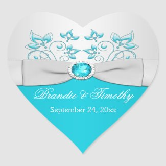 Turquoise and Silver Floral Heart Shaped Sticker sticker