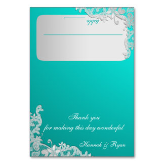 Turquoise and Silver Floral Lace Design Card