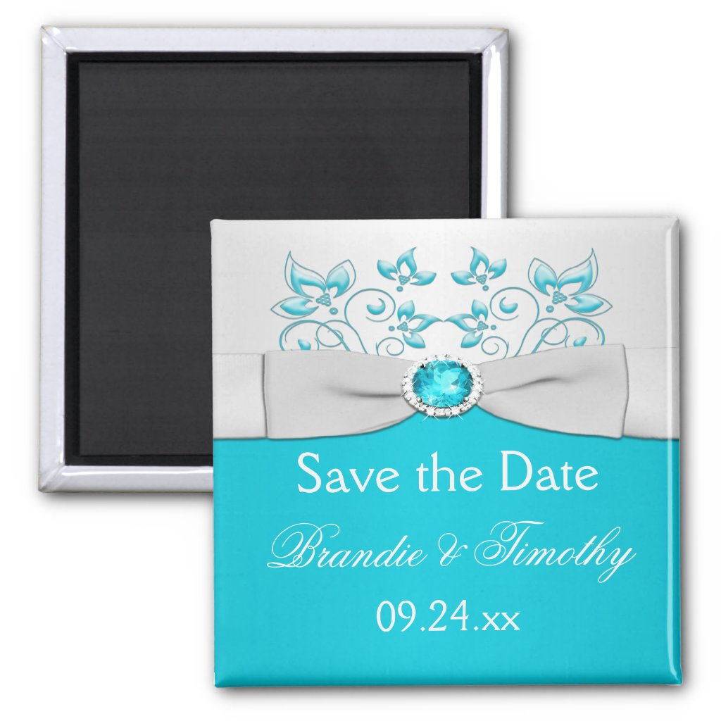 Turquoise and Silver Floral Save the Date Magnet