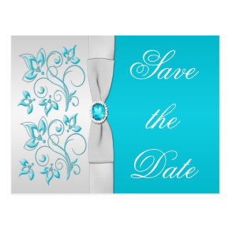 Turquoise and Silver Floral Save the Date Postcard