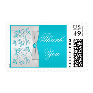 Turquoise and Silver Floral Thank You Postage