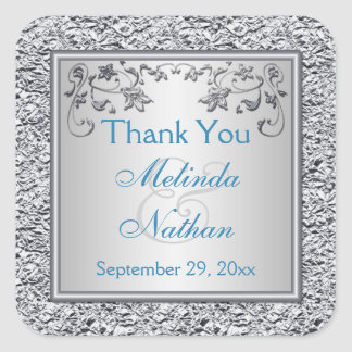Turquoise and Silver Floral Wedding Favor Sticker