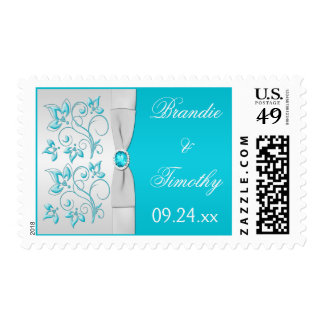 Turquoise and Silver Floral Wedding Postage