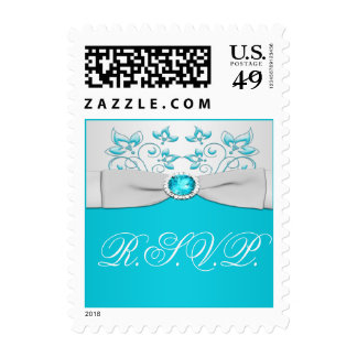 Turquoise and Silver Floral Wedding RSVP Postage