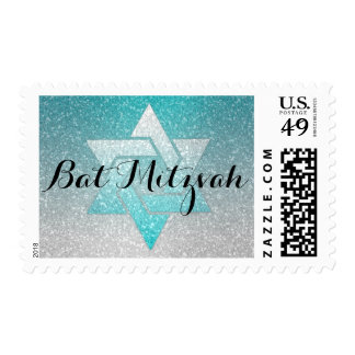 Turquoise and Silver Glitz Bat Mitzvah Postage Stamp