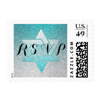 Turquoise and Silver Glitz RSVP Postage