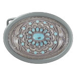 Turquoise and Silver Oval Belt Buckle<br><div class='desc'>Express your unique sense of style with this custom oval burnished silver belt buckle with an image of embossed silver with beautiful turquoise nuggets and fanciful leaves and braid details. Finished with a UV resistant and waterproof coating, you&#39;ll be able to proudly wear your buckle for years to come! Perfect...</div>