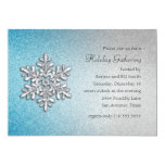 "Turquoise and Silver Snowflake Holiday Party 5"" X 7"" Invitation Card"
