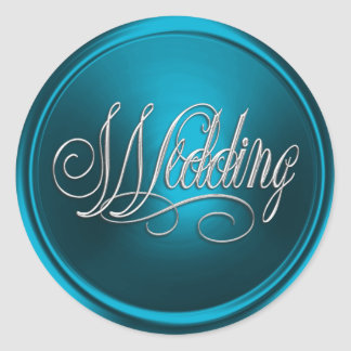 Turquoise and Silver Wedding Envelope Seal