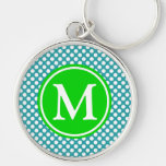 Turquoise and Summer Green Polka Dot Monogram Keychain