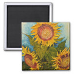 Turquoise and Sunflower Refrigerator Magnet