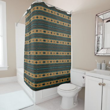 Aztec Themed Turquoise  And Tan Aztec Pattern Shower Curtain