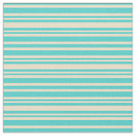 [ Thumbnail: Turquoise and Tan Colored Striped/Lined Pattern Fabric ]